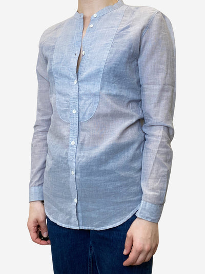 Blue light weight cotton collarless shirt - size S