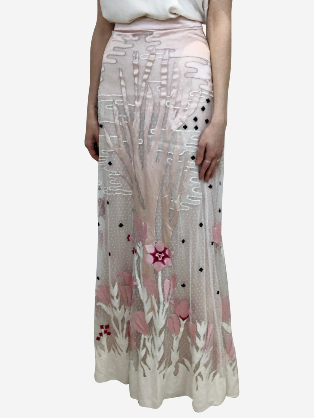 Pink floral embroidered maxi skirt - size XS