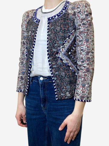 Multicoloured cropped collarless beaded jacket- size S