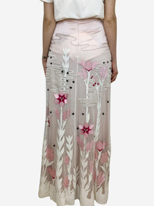 Temperley Pink floral embroidered maxi skirt - size XS