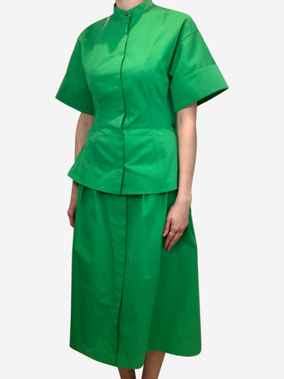Green cotton-blend peplum dress - size GER 32