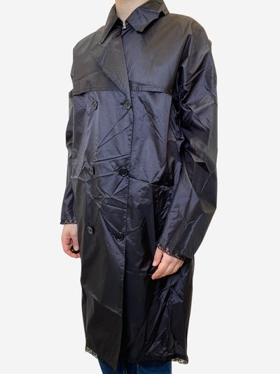 Black belted light wieght rain mac - size UK 10