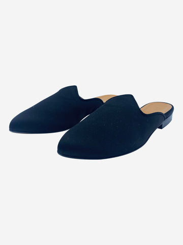 Black satin slip-on mules - size EU 37