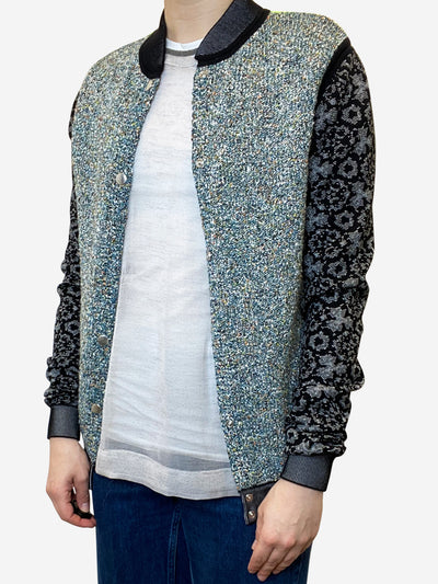 Multi coloured light weave bomber jacket - size UK 10