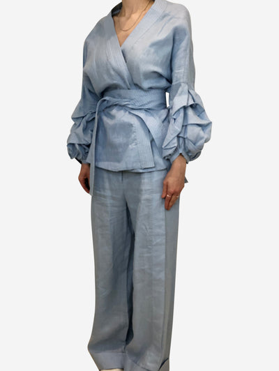 Blue wrap around top and loose fitting trouser set - size US 8
