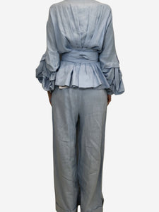 Johanna Ortiz Blue wrap around top and loose fitting trouser set - size US 8