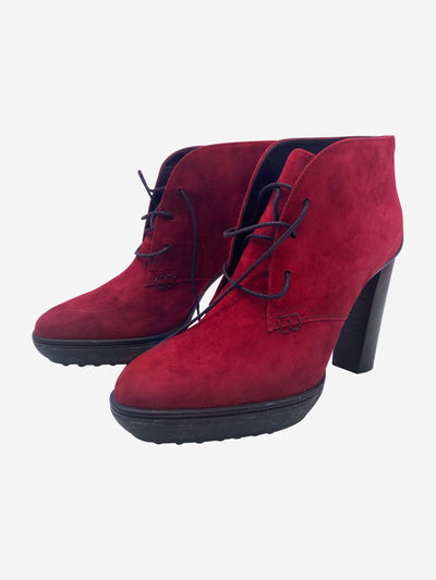 Dark red suede lace up ankle boots - size EU 38.5