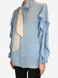 Blue and beige ruffle trimmed silk blouse with necktie - size IT 40