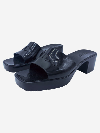 Black jelly low heel slide sandals with logo - size EU 40
