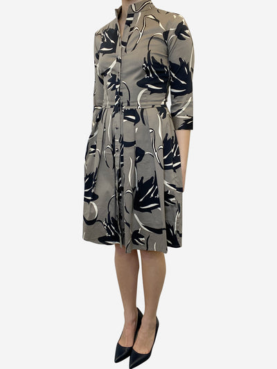 Taupe print fit and flare midi dress - size UK 6