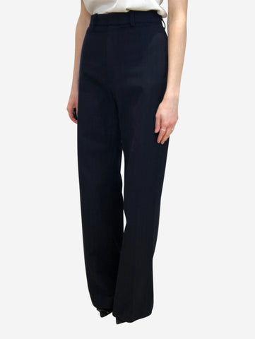 Navy wide leg pinstripe trousers - size FR 38