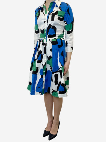 Multicoloured fit and flare print midi dress - size UK 6