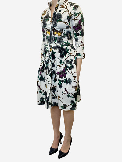 Cream fit and flare print midi dress - size UK 8