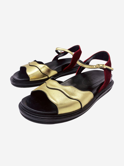 Red, gold, and black wavy sandals- size EU 37