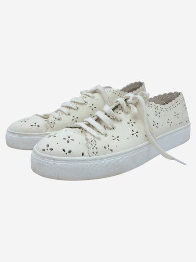 Cream floral leather laser cut trainers - size EU 40