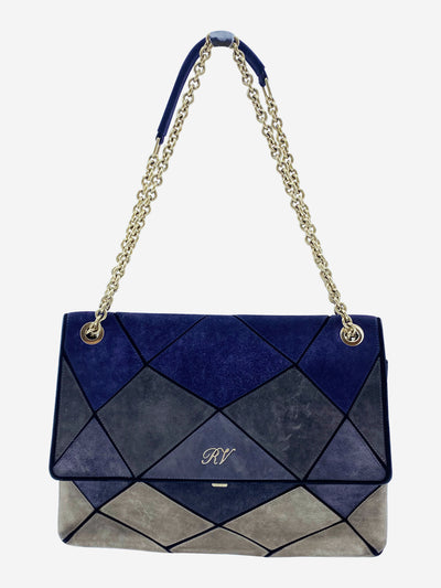 Primsick blue and grey suede chain flap bag