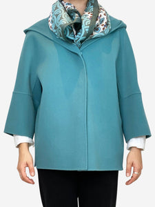 Rapace teal virgin wool hooded coat (with scarf) - size UK 8