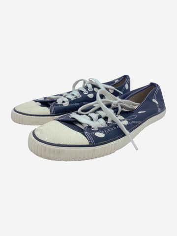 Navy & white polka dot trainers - size EU 39