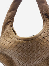 Load image into Gallery viewer, Brown Intrecciato woven leather crescent medium shoulder bag