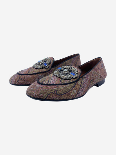 Paisley print jewel front loafers - size EU 37