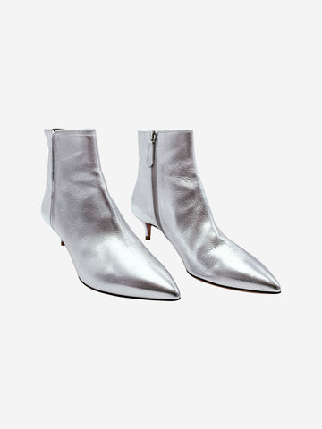 Aquazzura Silver Leather Low Heel Boots Size 3.5 RRP £670 Aquazzura - Timpanys