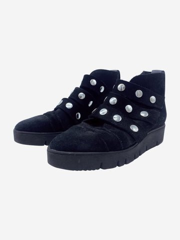 Black suede boots with silver popper detailing - size EU 38