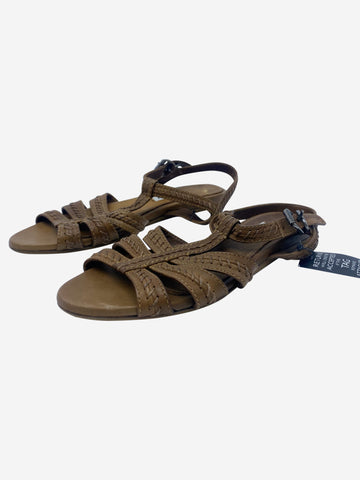 Tan braided leather sandals - size EU 36.5
