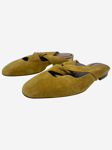Mustard suede cut out slip on flat shoes - size EU 37