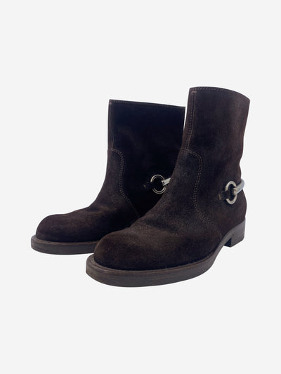Brown suede boots with horsebit detail - size EU 34.5