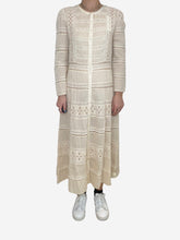 Load image into Gallery viewer, Cream long sleeve lace maxi dress - size UK 10