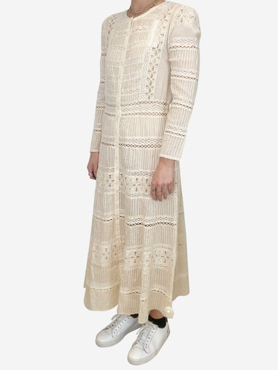 Cream long sleeve lace maxi dress - size UK 10