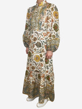Load image into Gallery viewer, Edie mustard, blue and green printed linen midi dress - size UK 12