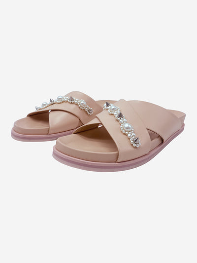 Pink pearl & spike crossover sandals - size EU 40
