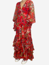 Load image into Gallery viewer, Red ruffle trimmed floral print maxi wrap dress - size S