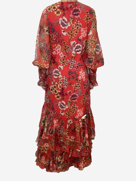 Red ruffle trimmed floral print maxi wrap dress - size S
