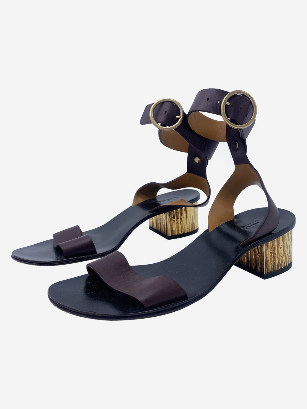 Burgundy & gold ankle strap block heel sandals - size EU 36.5