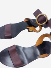 Load image into Gallery viewer, Burgundy & gold ankle strap block heel sandals - size EU 36.5