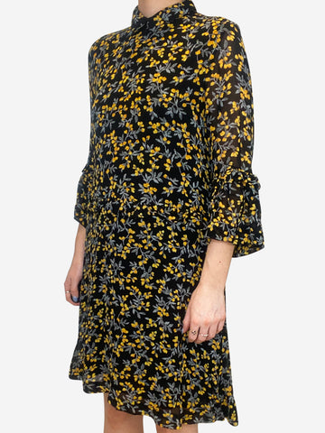 Black and yellow floral print dress with 3/4 sleeves - size UK 8