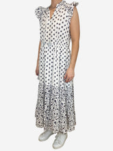 Load image into Gallery viewer, White floral ruffle midi dress - size UK 10