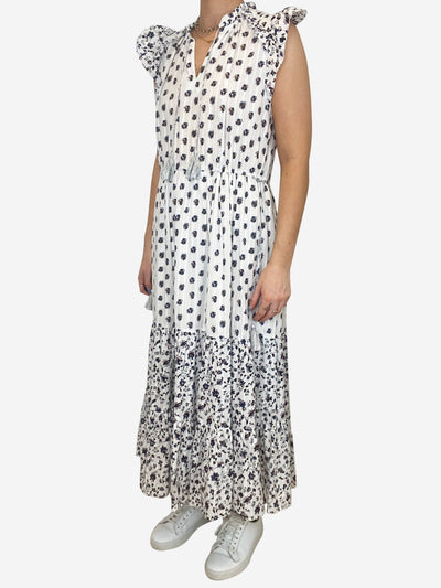 White floral ruffle midi dress - size UK 10