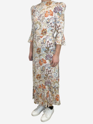 Falconetti white floral silk dress with 3/4 length sleeve - size UK 8