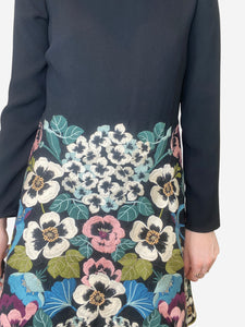 Black and multicolour floral skirt dress - size IT 44