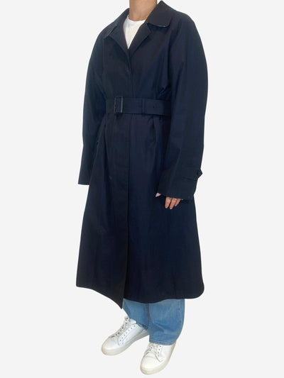 Navy single breasted long trench coat - size UK 4