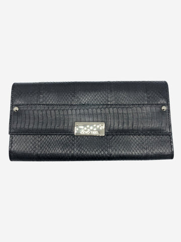 Black snake effect textured clutch bag