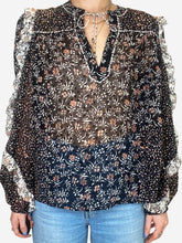 Load image into Gallery viewer, Black, cream and peach frill sleeve floral top - size UK 10