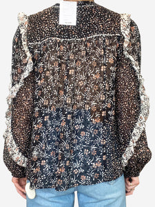 Black, cream and peach frill sleeve floral top - size UK 10