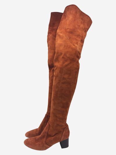 Peach suede over-the-knee leather boots with block heel- size EU 38