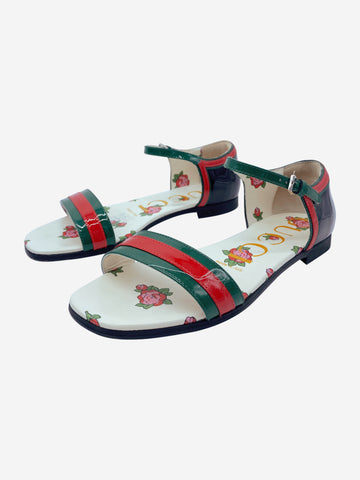 Abby red & green patent thin strap sandals - size EU 35