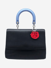 Load image into Gallery viewer, Black, blue and red top handle bag
