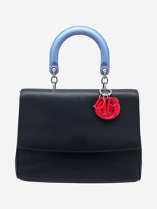 Black, blue and red top handle bag
